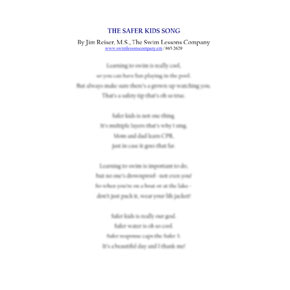 The Safer Kids Song By Jim Reiser, M.S., The Swim Lessons Company