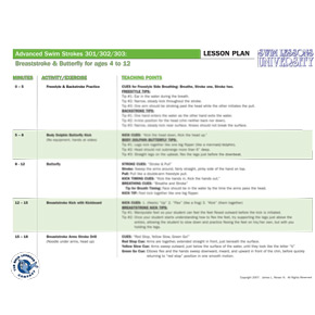Laminated Lesson Plan for Advanced Swim Strokes 301, 302, and 303