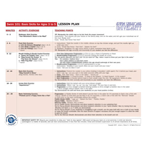 Laminated Lesson Plan for Swim 101