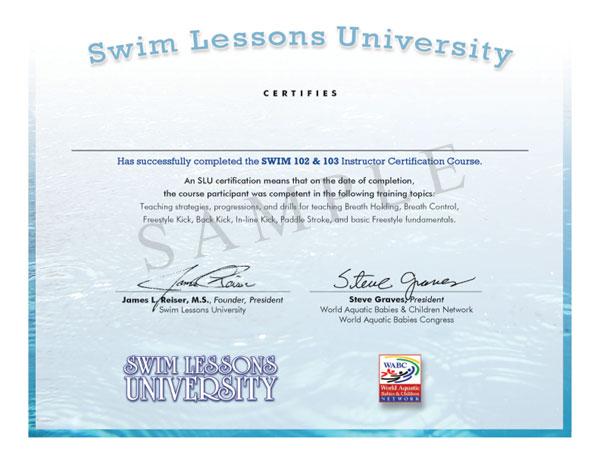 Swim 102/103 2nd Edition Exam and Swim Instructor Certification