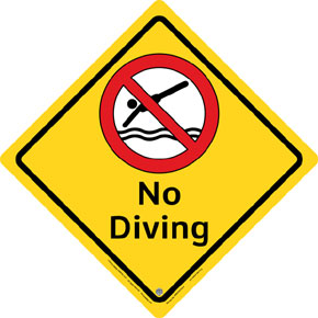 "Clarion® Pool Safety Sign - ""No Diving"""