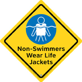 "Clarion® Pool Safety Sign - ""Non Swimmers Wear Life Jackets"""